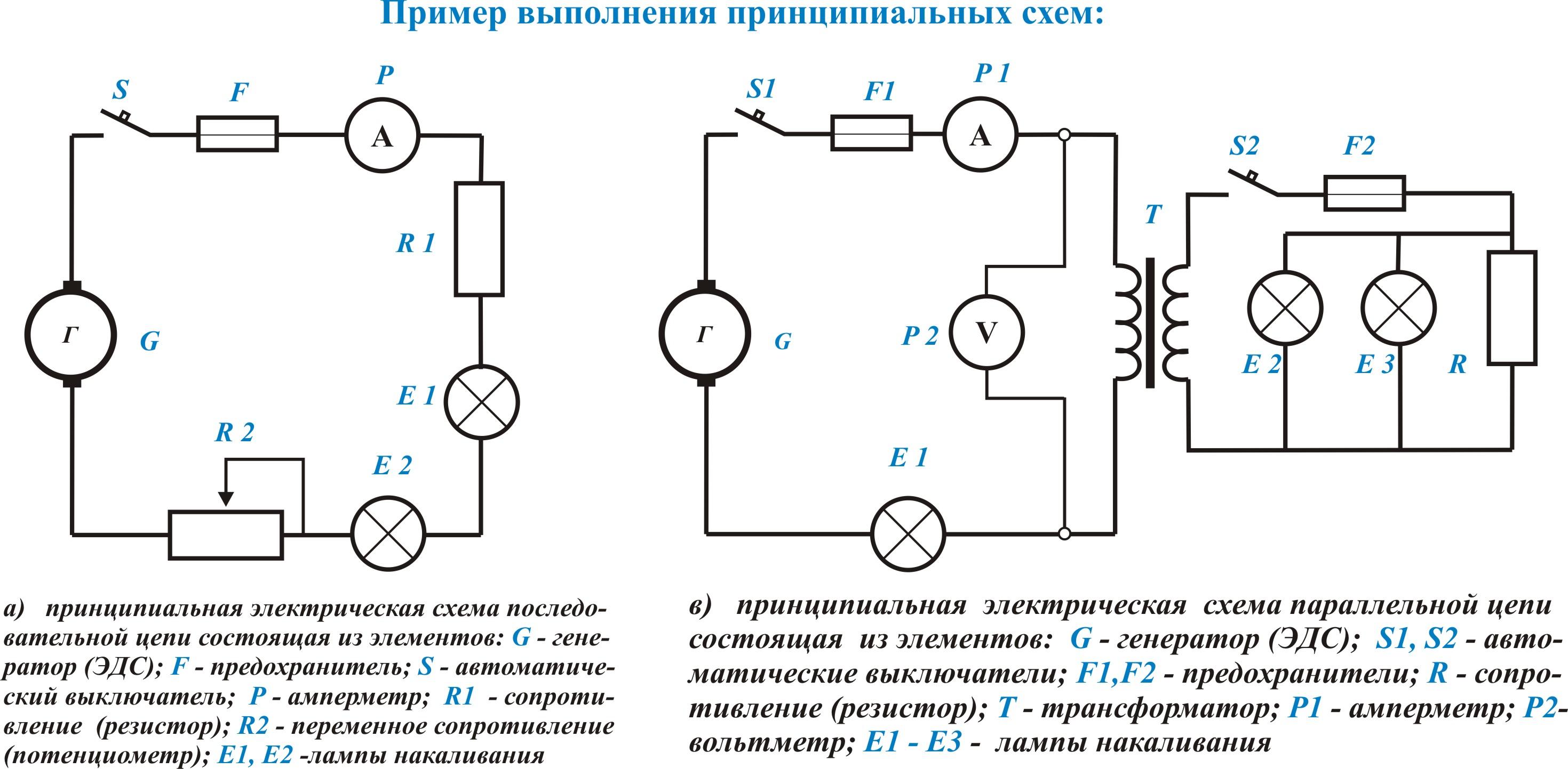 Элементы для принципиальных схем